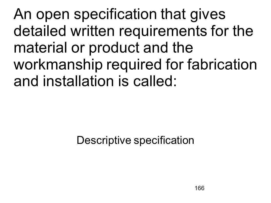 Descriptive specification