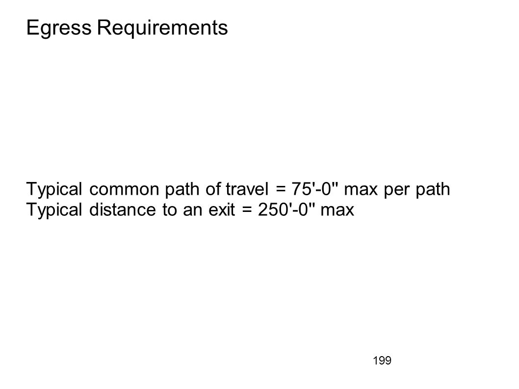 Egress Requirements Typical common path of travel = 75 -0 max per path.