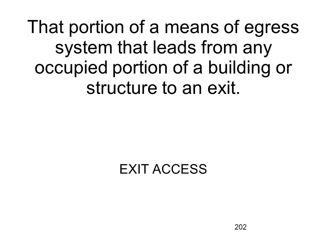 That portion of a means of egress system that leads from any occupied portion of a building or structure to an exit.