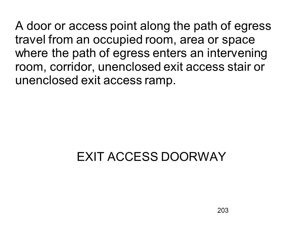 A door or access point along the path of egress travel from an occupied room, area or space where the path of egress enters an intervening room, corridor, unenclosed exit access stair or unenclosed exit access ramp.