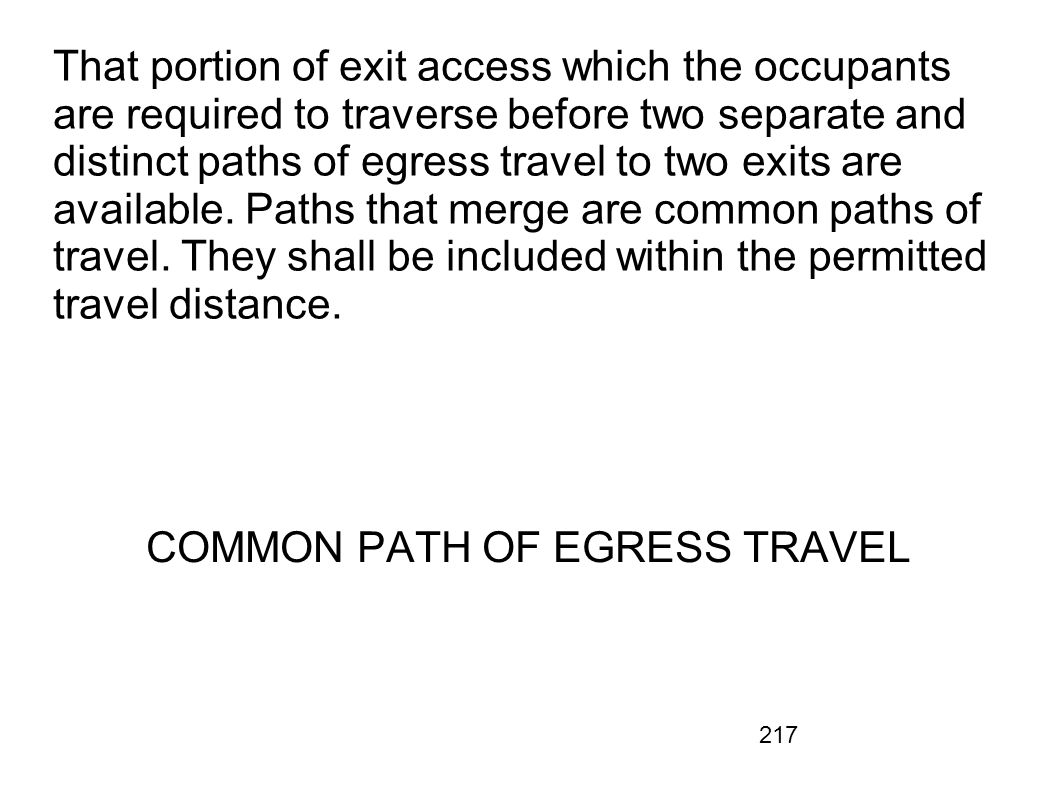 COMMON PATH OF EGRESS TRAVEL