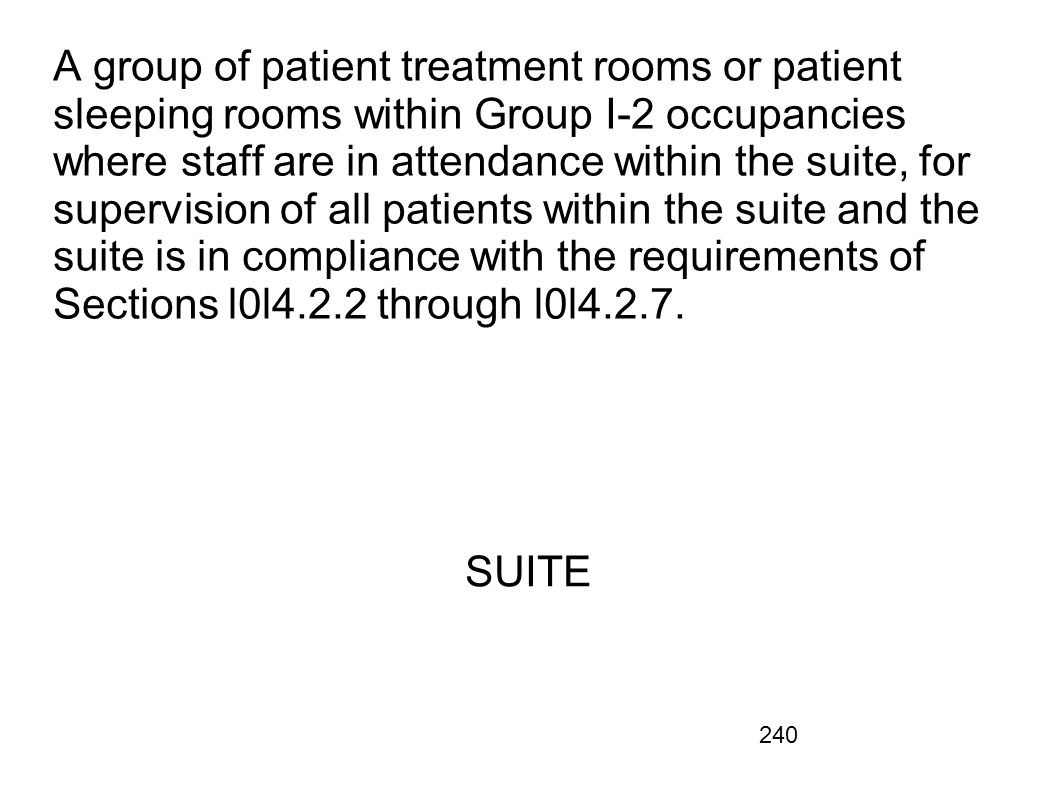 A group of patient treatment rooms or patient sleeping rooms within Group I-2 occupancies where staff are in attendance within the suite, for supervision of all patients within the suite and the suite is in compliance with the requirements of Sections l0l4.2.2 through l0l4.2.7.