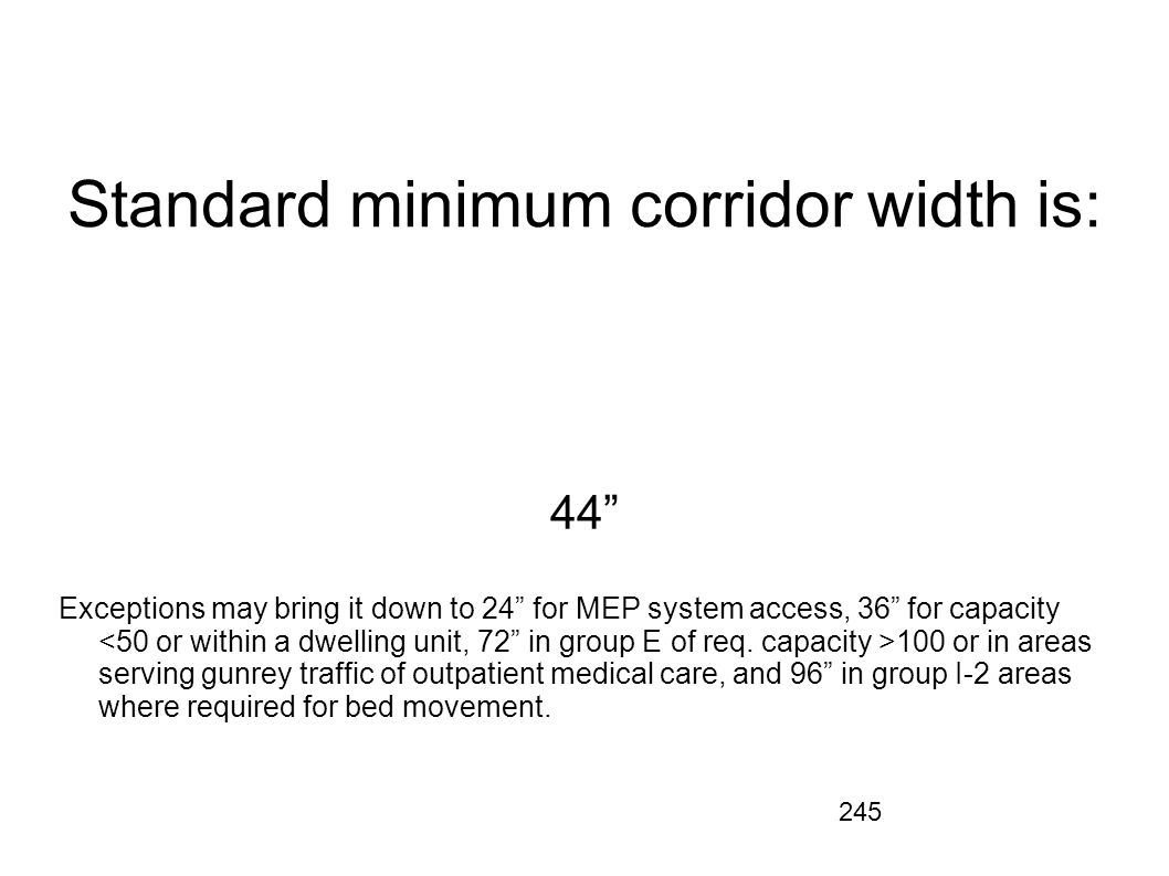 Standard minimum corridor width is: