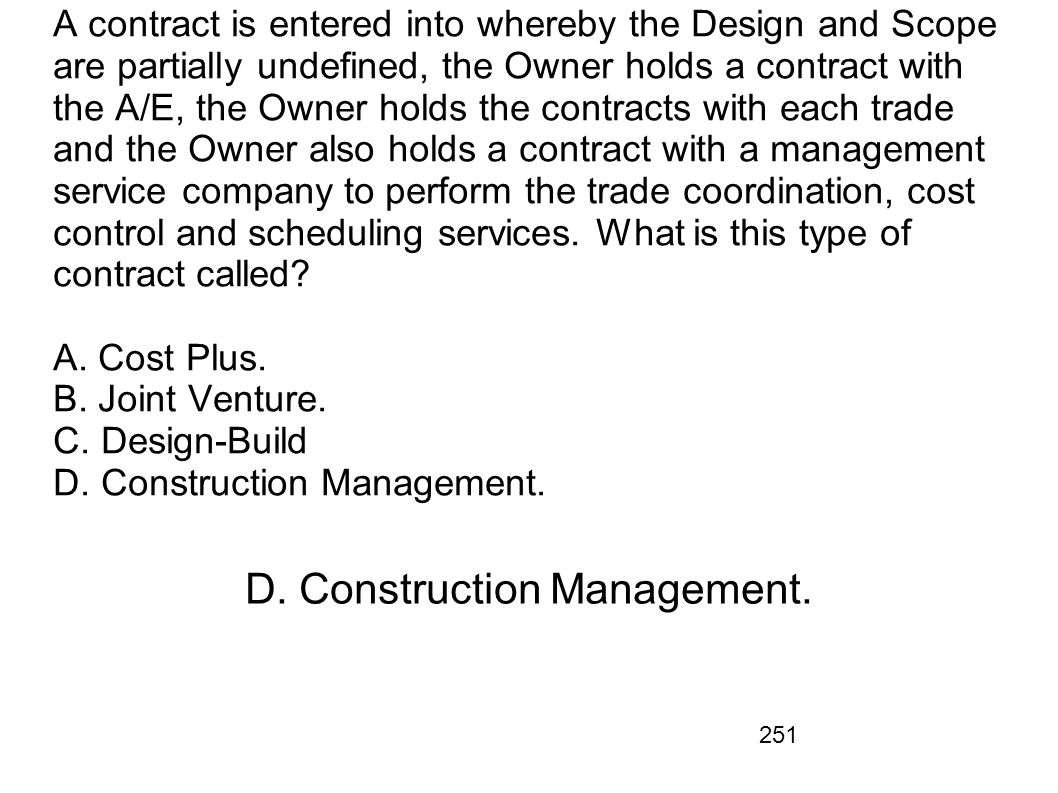 D. Construction Management.