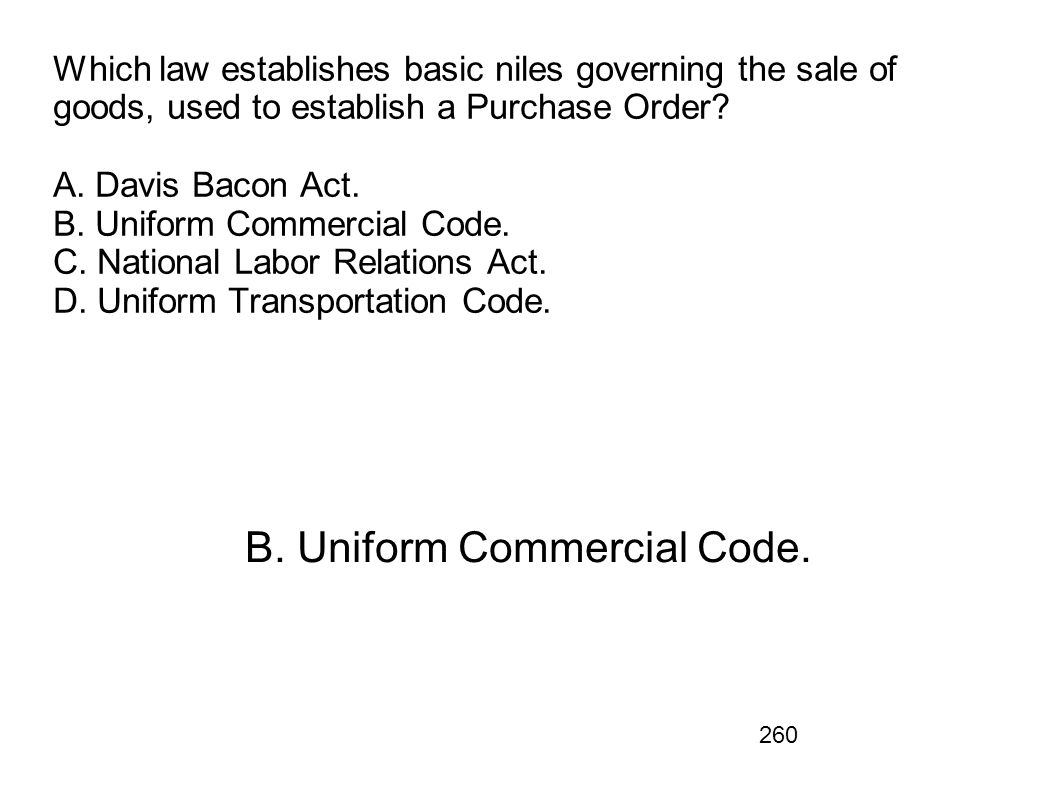 B. Uniform Commercial Code.