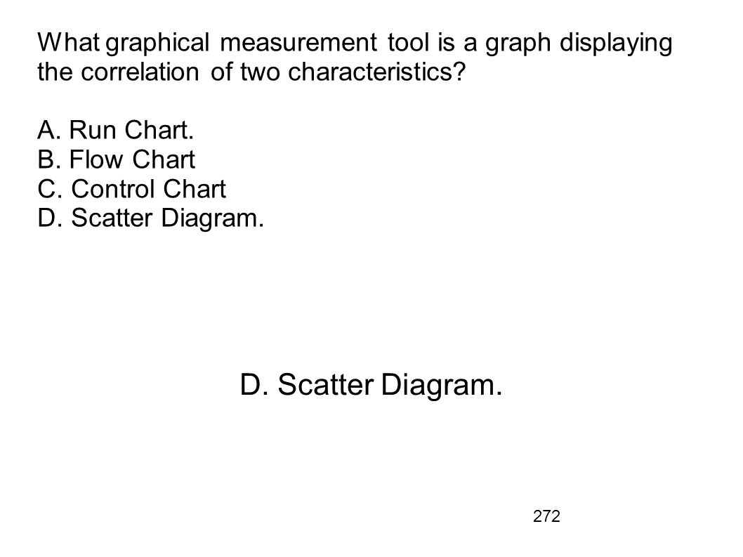 What graphical measurement tool is a graph displaying the correlation of two characteristics A. Run Chart. B. Flow Chart C. Control Chart D. Scatter Diagram.