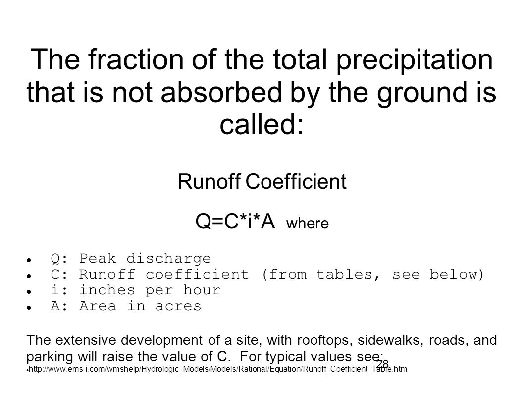 The fraction of the total precipitation that is not absorbed by the ground is called: