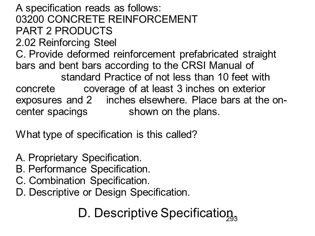D. Descriptive Specification.