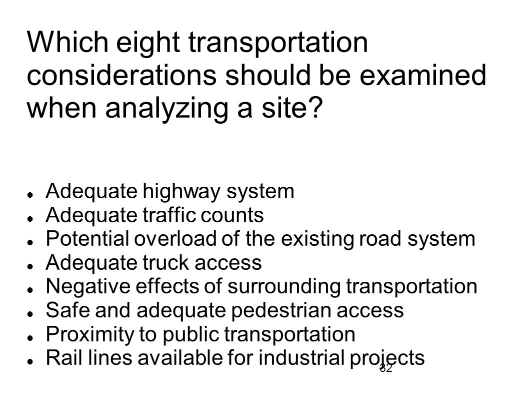 Which eight transportation considerations should be examined when analyzing a site