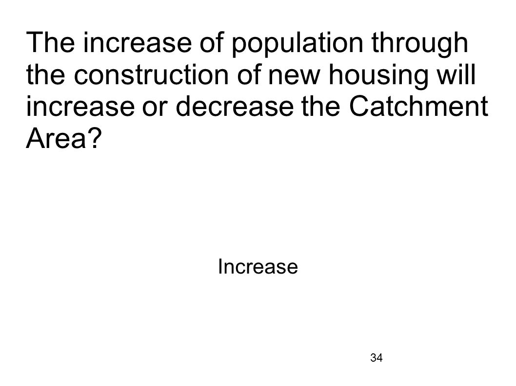 The increase of population through the construction of new housing will increase or decrease the Catchment Area