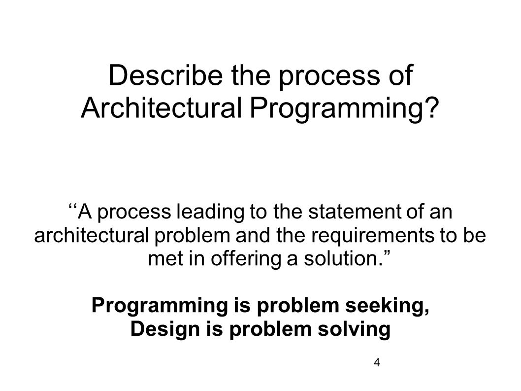Describe the process of Architectural Programming