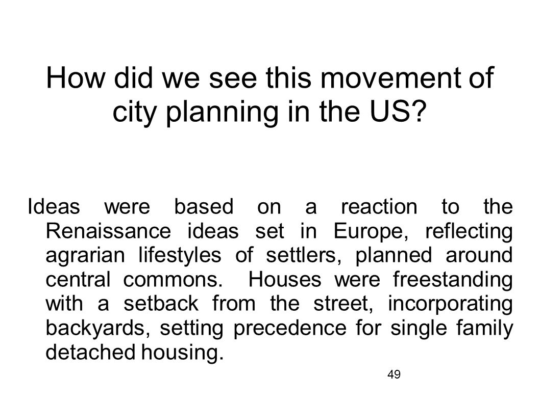 How did we see this movement of city planning in the US