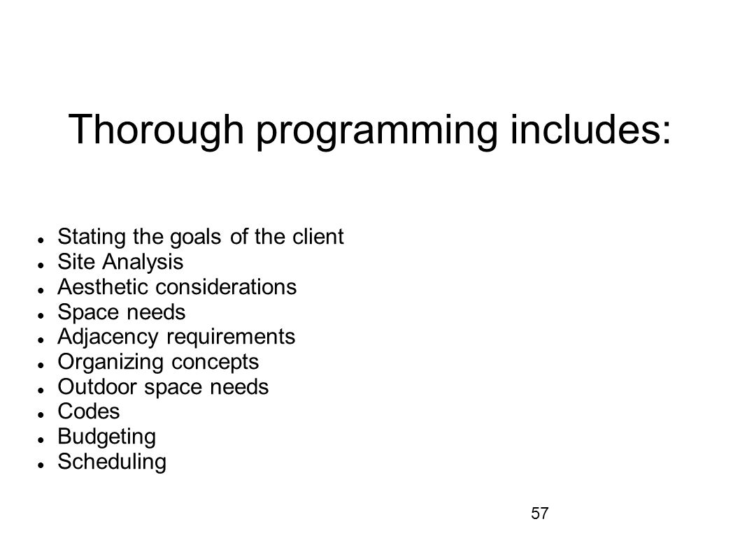 Thorough programming includes: