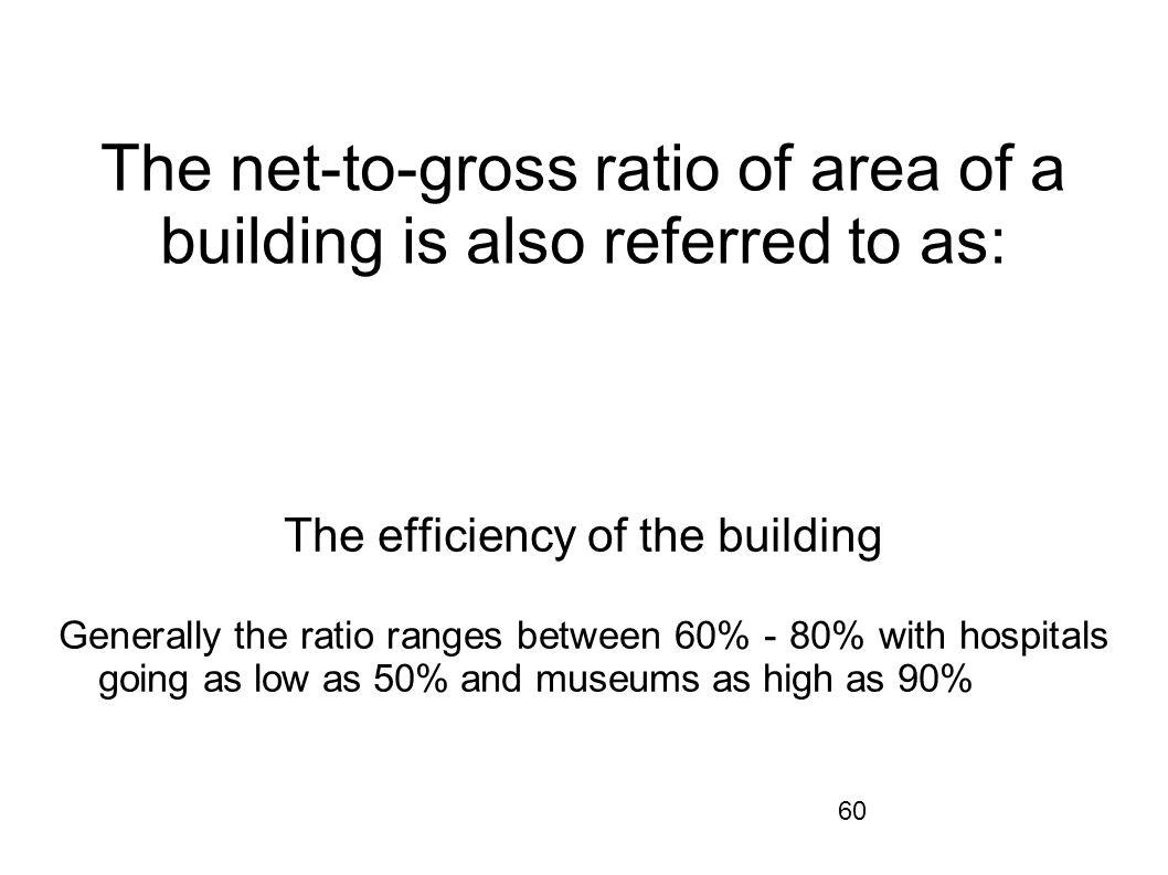 The net-to-gross ratio of area of a building is also referred to as: