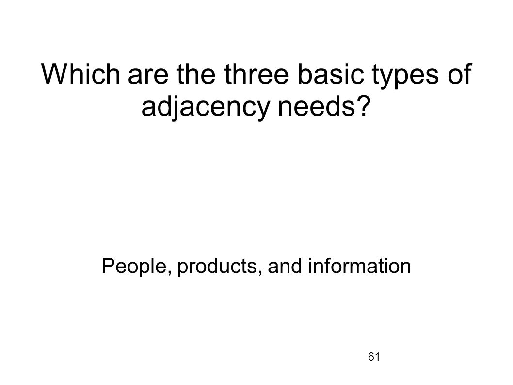 Which are the three basic types of adjacency needs