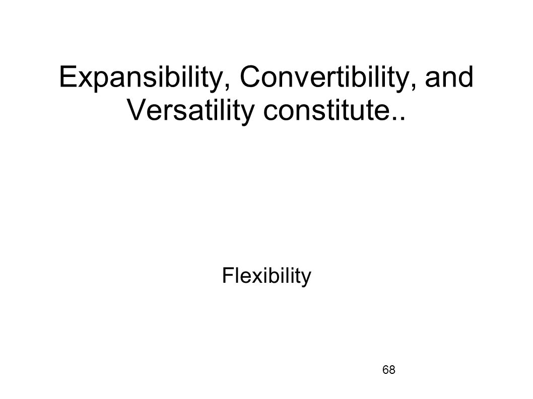 Expansibility, Convertibility, and Versatility constitute..