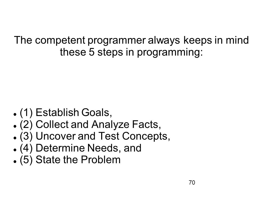 The competent programmer always keeps in mind these 5 steps in programming: