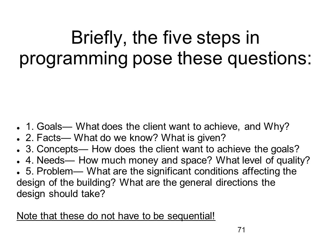 Briefly, the five steps in programming pose these questions: