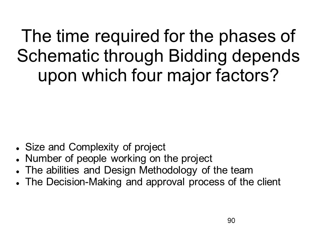The time required for the phases of Schematic through Bidding depends upon which four major factors