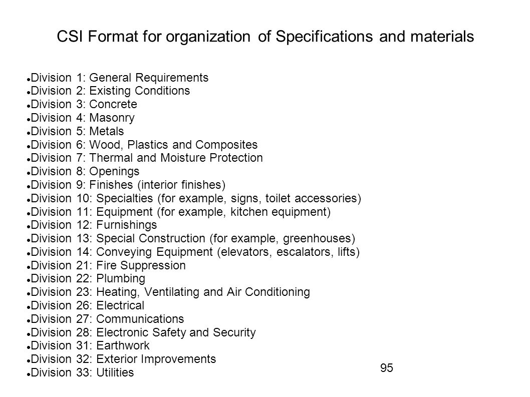 CSI Format for organization of Specifications and materials