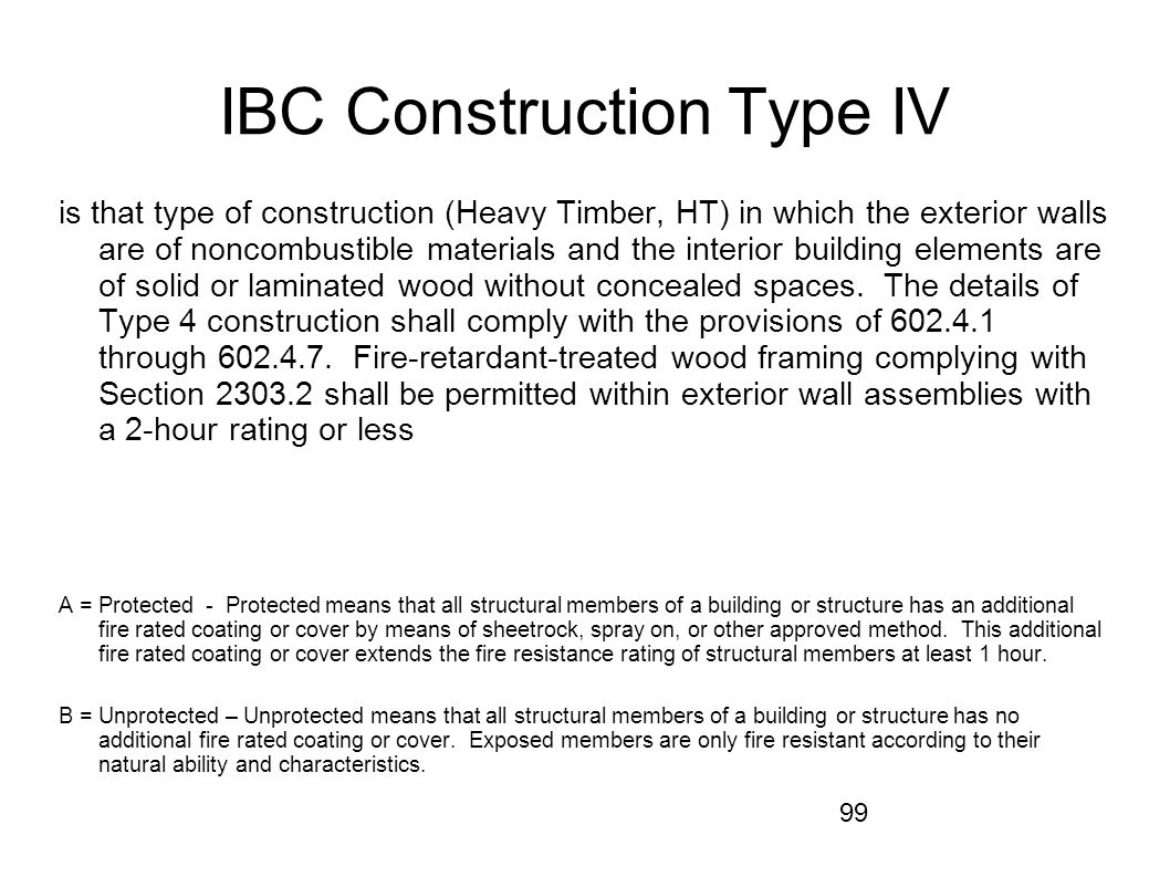 IBC Construction Type IV