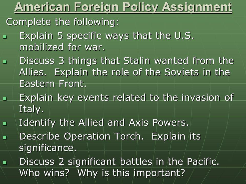 American Foreign Policy Assignment