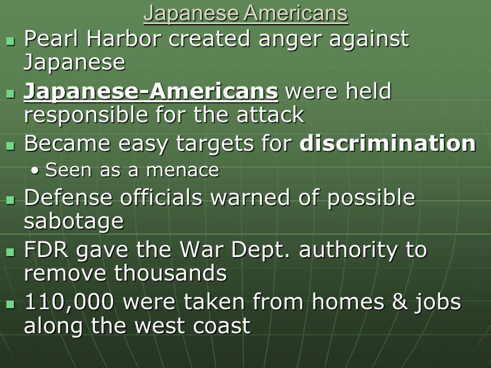 Pearl Harbor created anger against Japanese