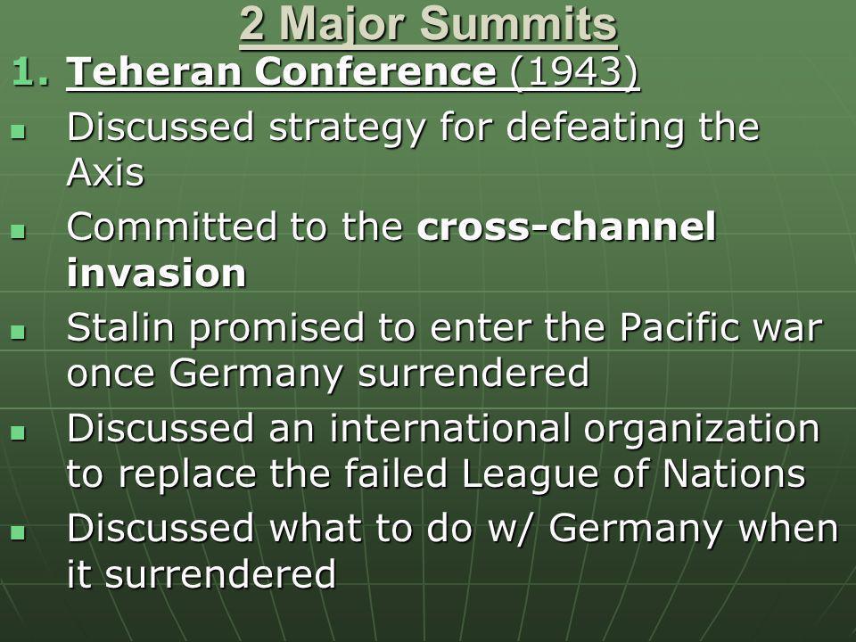2 Major Summits Teheran Conference (1943)