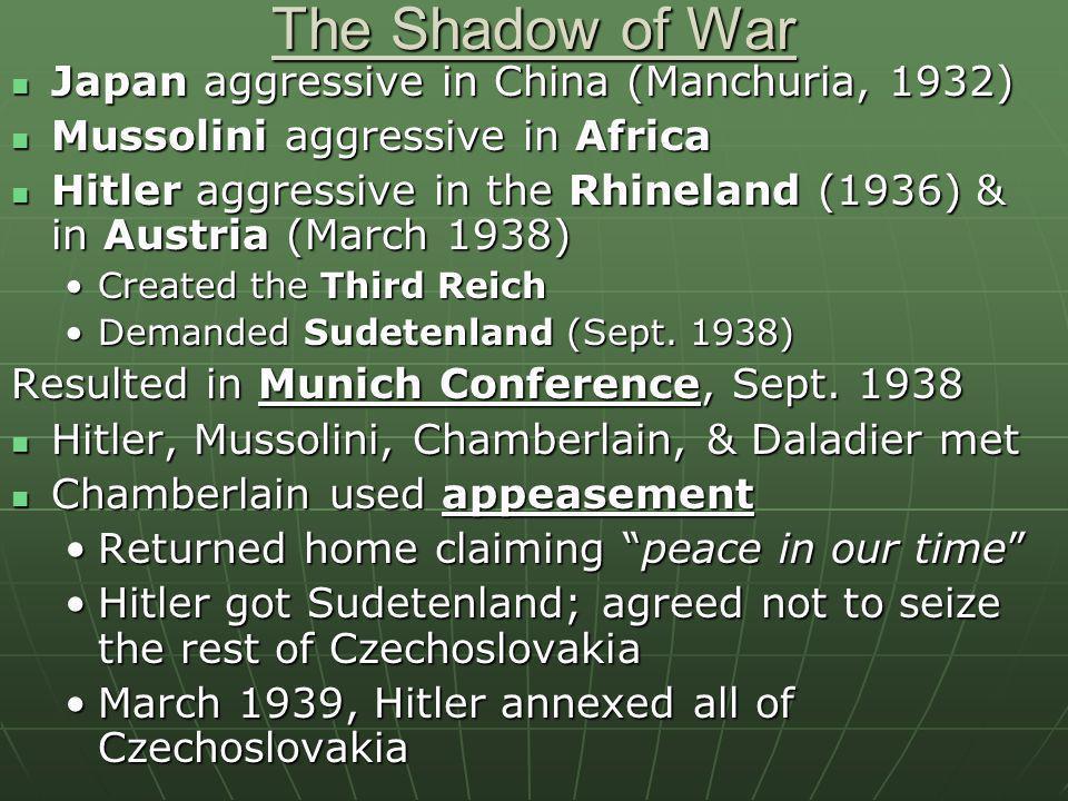The Shadow of War Japan aggressive in China (Manchuria, 1932)
