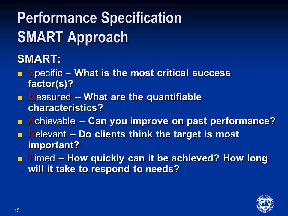 Performance Specification SMART Approach