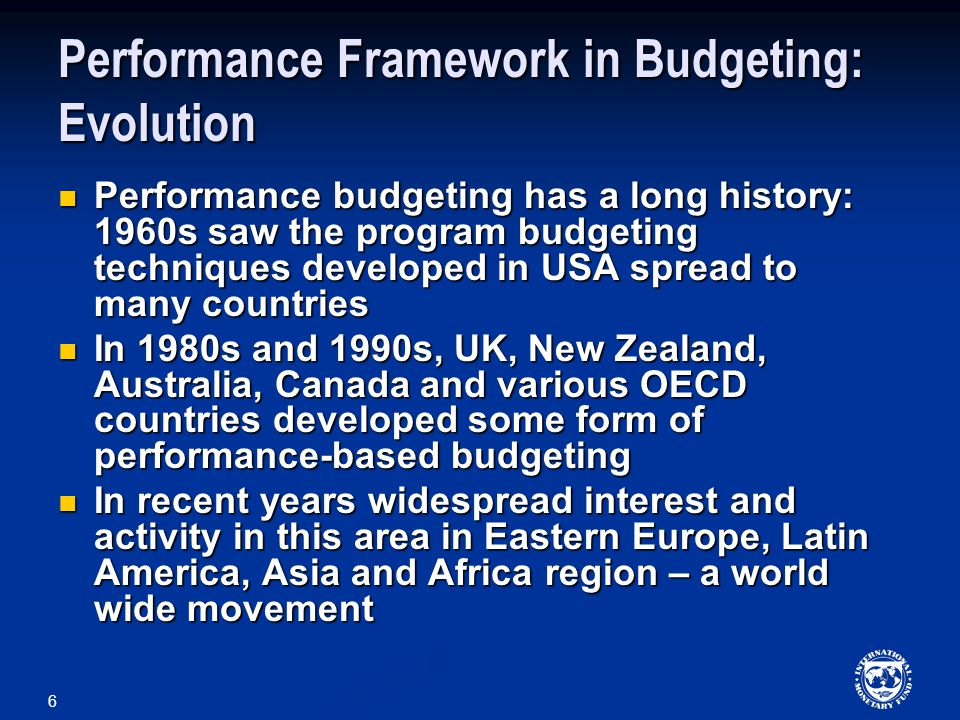 Performance Framework in Budgeting: Evolution