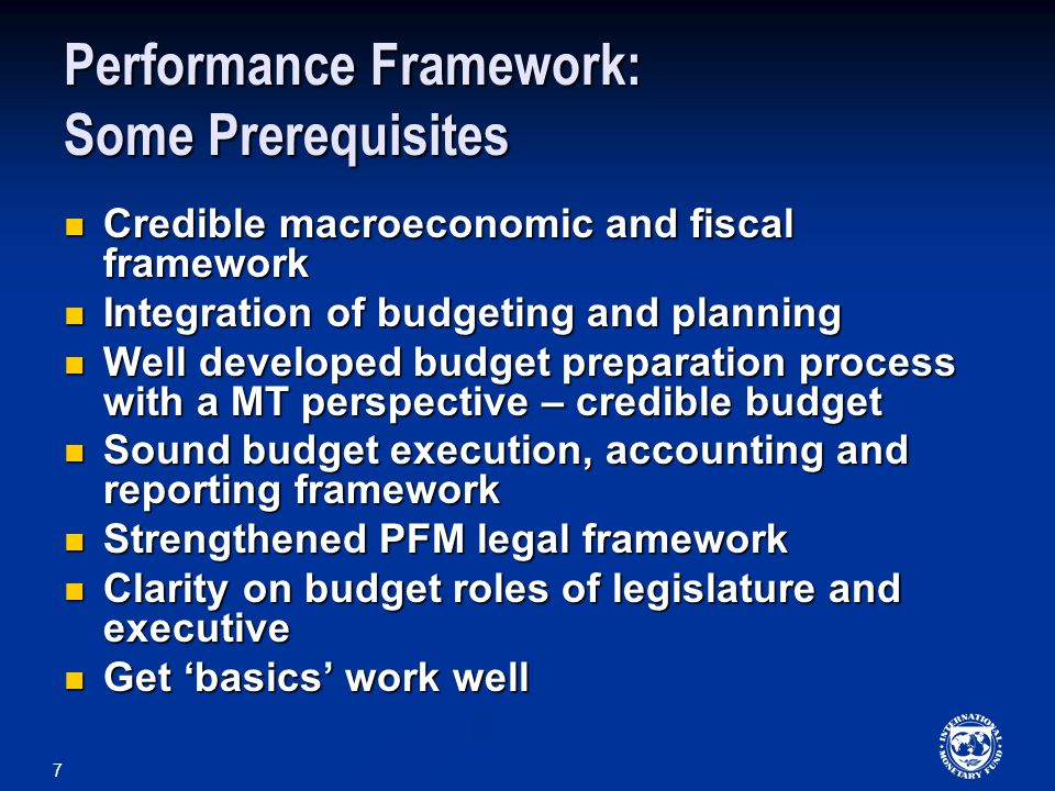 Performance Framework: Some Prerequisites