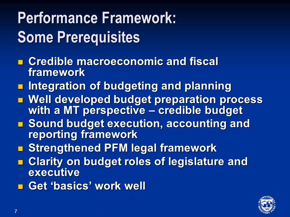 Performance Framework: Some Prerequisites