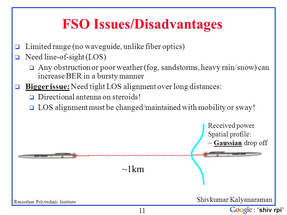 FSO Issues/Disadvantages