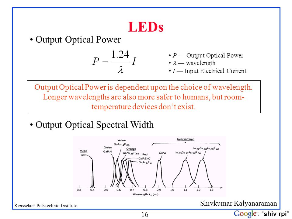 Output Optical Power is dependent upon the choice of wavelength.