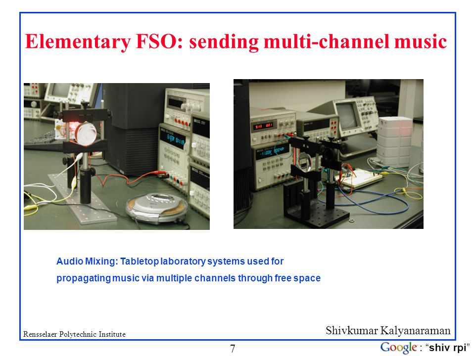 Elementary FSO: sending multi-channel music