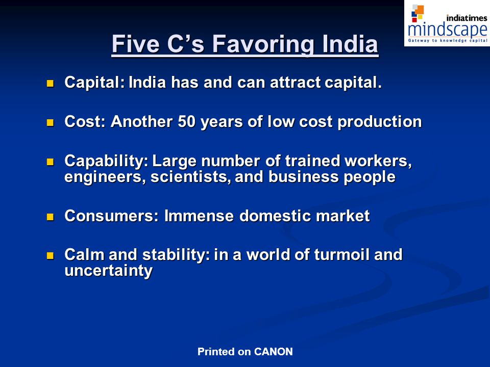 Five C's Favoring India
