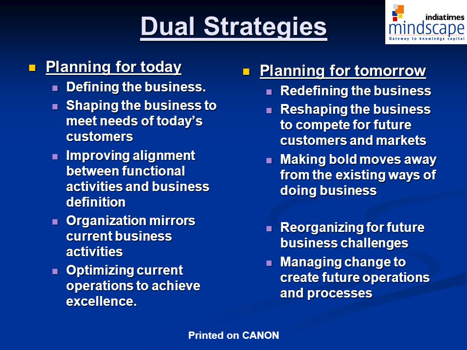 Dual Strategies Planning for today Planning for tomorrow