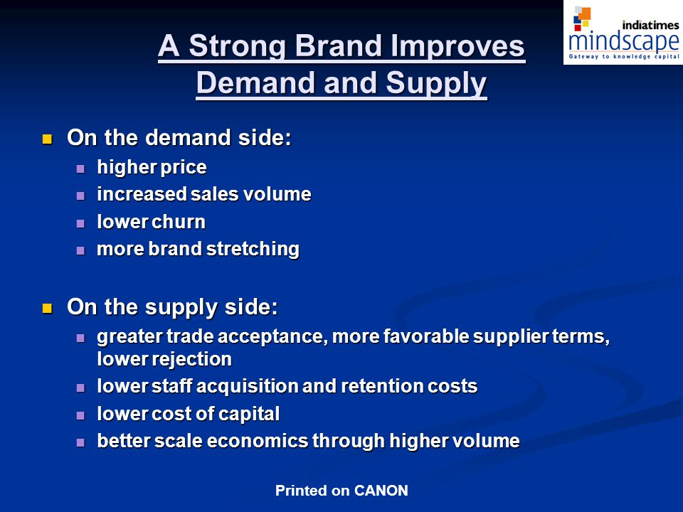 A Strong Brand Improves Demand and Supply