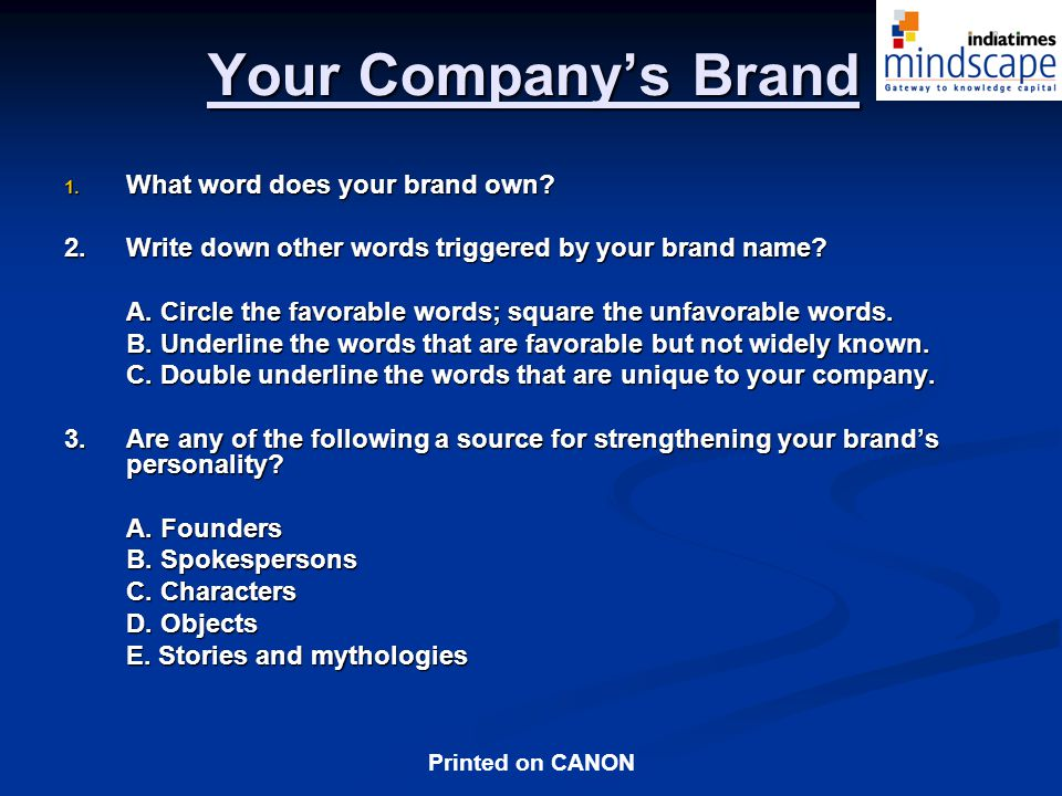 Your Company's Brand What word does your brand own