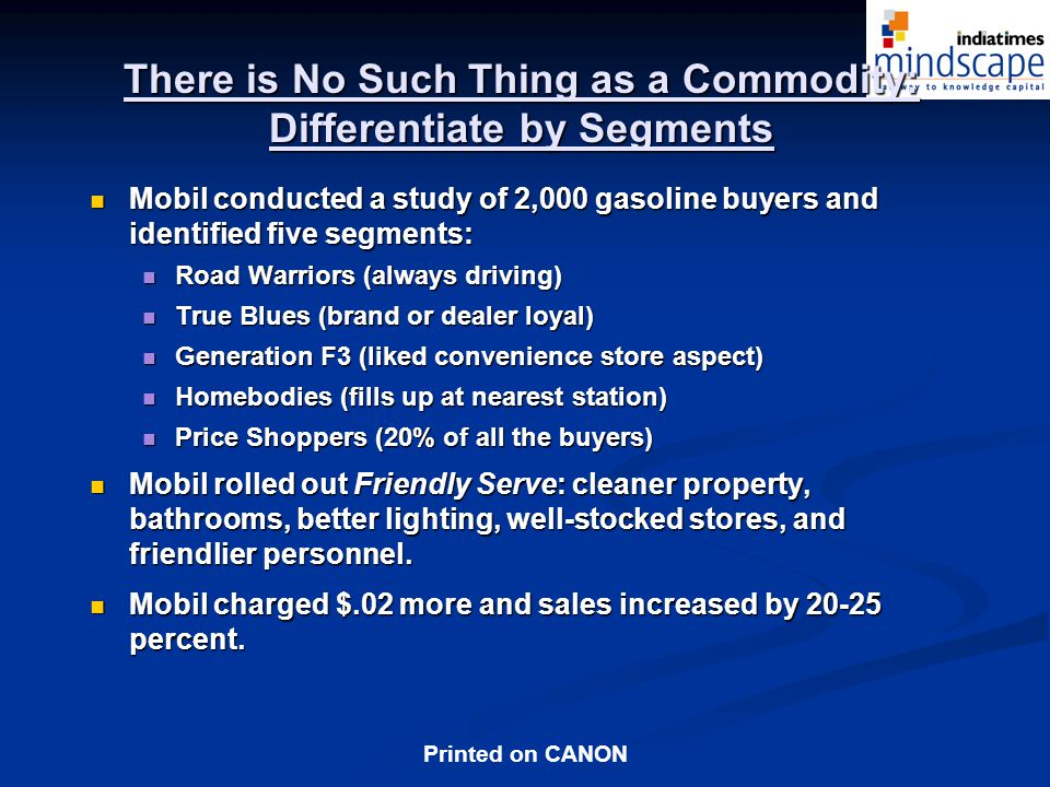 There is No Such Thing as a Commodity: Differentiate by Segments