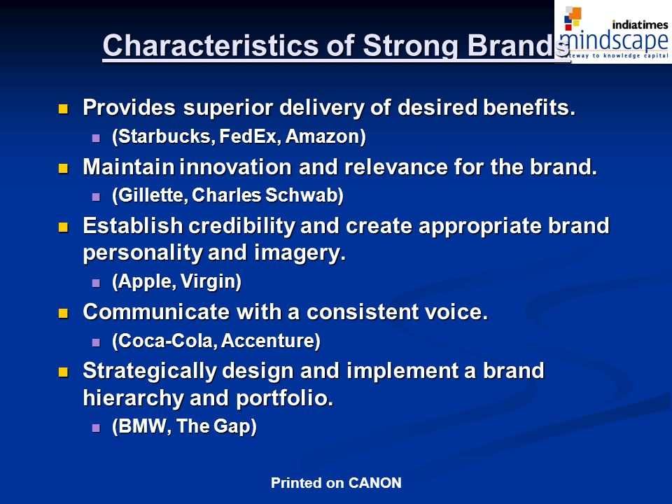 Characteristics of Strong Brands