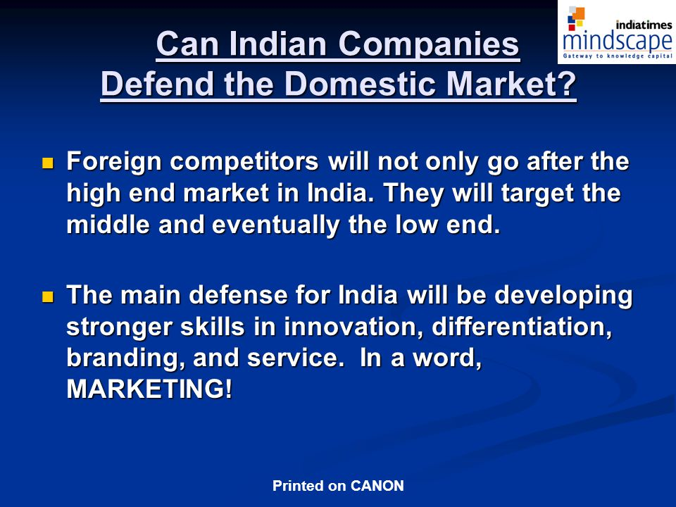 Can Indian Companies Defend the Domestic Market