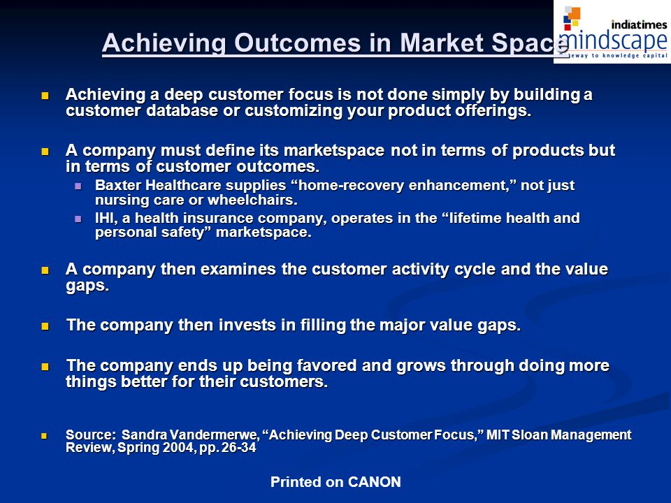 Achieving Outcomes in Market Space