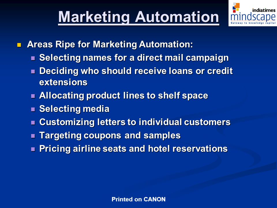Marketing Automation Areas Ripe for Marketing Automation: