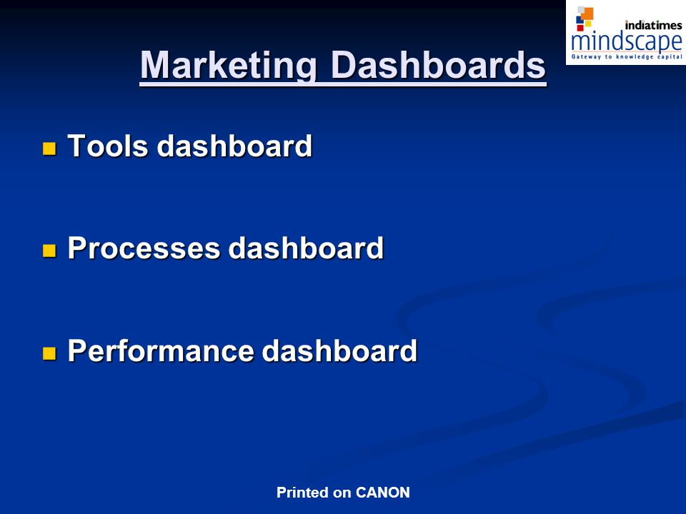 Marketing Dashboards Tools dashboard Processes dashboard