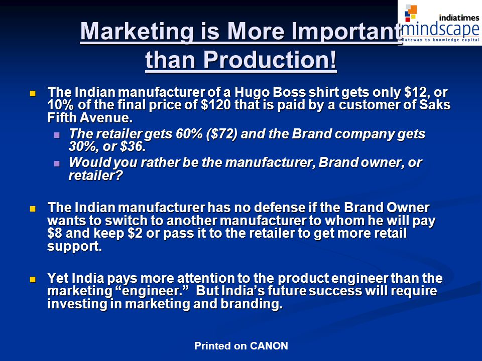 Marketing is More Important than Production!