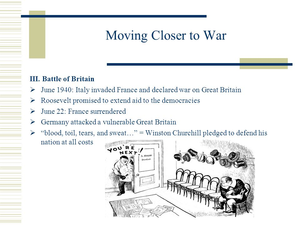 Moving Closer to War III. Battle of Britain