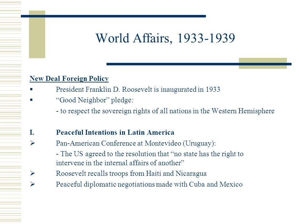 World Affairs, 1933-1939 New Deal Foreign Policy