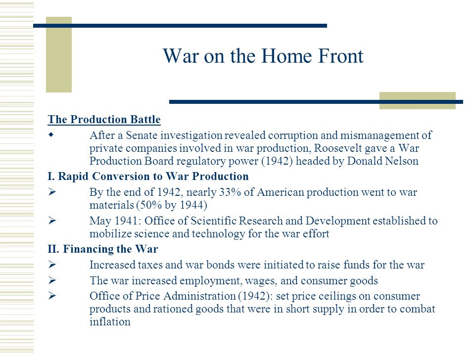War on the Home Front The Production Battle